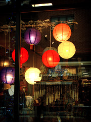 Chinese Lanterns (intocollidingentropy) Tags: windows colors reflections lights store chinese latterns