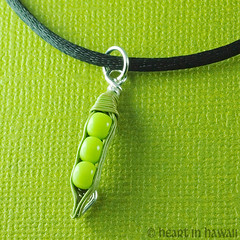 handmade pea pod pendant (heartinhawaii) Tags: 3 cute green miniature pod handmade vegetable tiny peas veggie beaded peapod artfire 3peasinapod