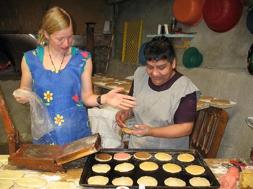 Brie and Alicia making bread