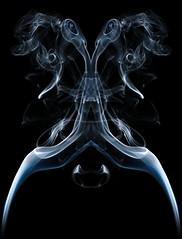 S Y M M E T R I A (remography) Tags: blue white black color 50mm mirror photo nikon foto random spiegel smoke d70s gimp symmetry blackground utata blau nikkor farbe weiss schwarz rauch symmetrie zufall twtme