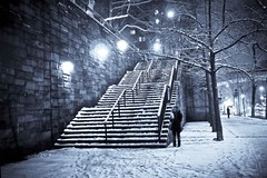 Stairs to Tudor city on a snowy night... (jambo ardalan jalayer) Tags: park nyc snow newyork storm fairytale night stairs manhattan perspective snowstorm tudor midtown un fairy stroll selenium tudorcity blueribbonwinner ardalan jalayer goldstaraward
