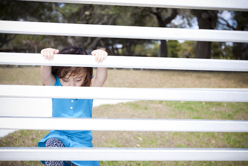 Child climbing a fence