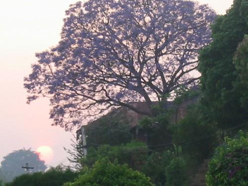 zonsondergang vanop een terras