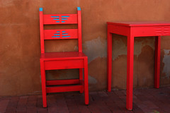 table and chair (booksin) Tags: red newmexico table chair furniture vivid albuquerque oldtown booksin top20nm copyrightbybooksinallrightsreserved