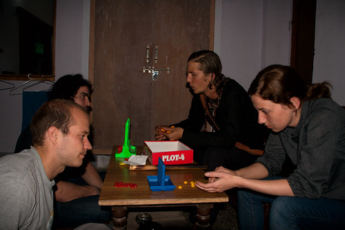 Us playing connect four at 3am with some fellow travellers at Shakuntalem