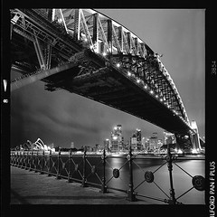 ... (ManWithAToyCamera) Tags: night point sydney australia hasselblad rodinal harbourbridge milsons panf 503cx