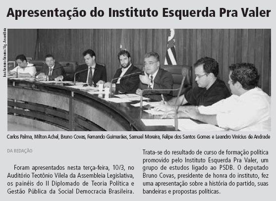 Matéria do Diário Oficial sobre a reunião do Esquerda pra Valer
