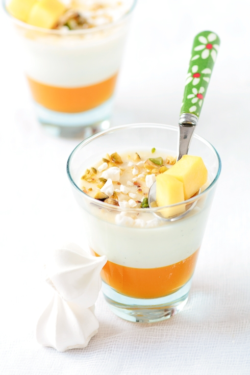 Mango and Vanilla Bean Buttermilk Panna Cotta