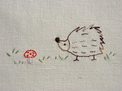 Wednesday (a n a ) Tags: mushroom handmade linen embroidery hedgehog cogumelo embroidered bordado ourio linho