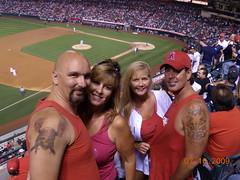 Us at the Angel's game (cjacobs53) Tags: california new york girl tattoo angel friend girlfriend stadium cj craig sherry jacobs anaheim yankee clarence dawna jacobsusa