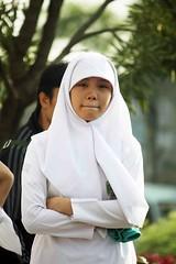 Jakarta streets (Mangiwau) Tags: street school girls girl scarf women shots head muslim hijab jakarta raya jalan indonesian sekolah headwear jilbab cewek