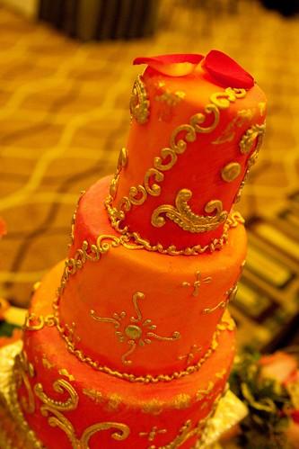Pink N Orange Wedding Cake Stephaniethebaker