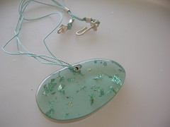 epoxy resin silver leaves and silk thread (maroulina) Tags: leaves silver handmade silk athens greece epoxy resin pendant seafoam egst maroulina