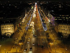 The Champs-Elyses (Fotis Korkokios) Tags: road christmas street xmas city paris france cars fountain beautiful night buildings dark lights evening grande exposure boulevard grand center citylights metropolis avenue arcdetriomphe parisian champslyses electrique fostis