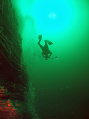 diver-on-the-pinnacle (damoj5) Tags: diving thepinnacle kilkee inon fujif40