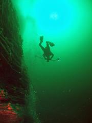 diver-on-the-pinnacle (damoj5) Tags: diving thepinnacle kilkee inon fujif40