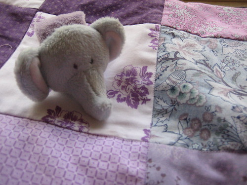 Elephant rattle on quilt
