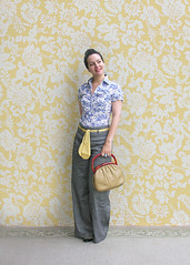 Vintage Purse (Elsita (Elsa Mora)) Tags: blue portrait orange inspiration selfportrait color art smile fashion photoshop self hair happy outfit nice shoes artist personal top sandals background inspired remix seed style skirt blouse hidden blogged wardrobe elsa mora selfexpression elsita