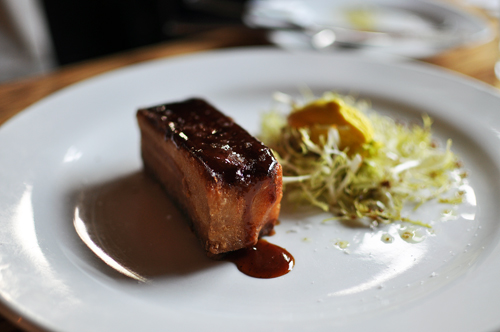 Lacquered Pork Belly, Mustard Ice Crea  Vadouvan
