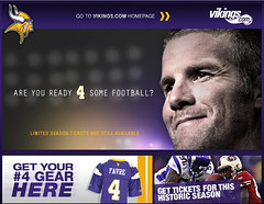 Vikings.com Screenshot Featuring Brett Favre -...