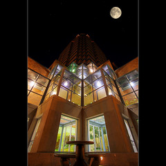 Shoot for the moon. Even if you miss, you'll land among the stars. (David Gn Photography) Tags: moon night oregon portland stars downtown hdr condominium koincenter photomatix fountainplaza sigma1020mmf35exdchsm canoneosrebelt1i