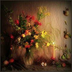 Autumnal Still Life (Arunas S) Tags: flowers autumn light roses stilllife plant flower colour art apple nature water rose season square evening leaf candle artistic time blossom background magic watch blossoms baltic pot pear vase historical flowerpot apples balance candlelight lamplight pitcher soe colouring cosy lithuania flax flavour naturemorte tranquillity lietuva palanga hardlight coth arunas laikas autumnalstilllife colorphotoaward samogitia natiurmortas theunforgettablepictures platinumheartaward dragondaggerphoto artofimages saariysqualitypictures somethingspec artistictreasurechest goldendiamondblog bestcapturesaoi oracoob magicunicornverybest coth5 selectbestfavorites magicunicornmasterpiece obramaestra flickrvaultexcellence trolledproud however~itsstillmylife sbfmasterpiece thepyramidgroup naturemotrt