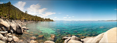 Panorama of Lake Tahoe (Lucas Janin | www.lucasjanin.com) Tags: blue sky panorama usa cloud mountain lake plant color tree green beach water rock forest plante landscape iso200 nikon nevada laketahoe vert ciel getty 24mm f80 nikkor paysage plage gettyimages lightroom autopanopro nikond700 lucasjanin afsnikkor2470mmf28ged