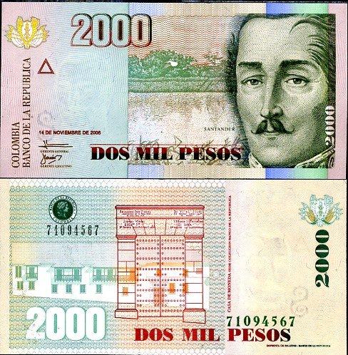 2000 pesos Kolumbia 2006