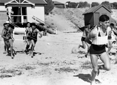 Surf life saving competition at Brighton beach (State Library of South Australia) Tags: men beach brighton lifeguards lifesaving lifesavers statelibraryofsouthaustralia