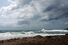 Otoo... (Carmen Lario) Tags: autumn sea sky espaa storm beach clouds mar andaluca playa cielo nubes tormenta otoo almera nwn mojcar carmenlario playaeldescargador