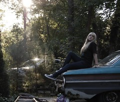 Useless (samisyourmother) Tags: blue fall me girl car sunshine hair myself rust sitting soil converse blonde falcon teenager vehicle ladder i