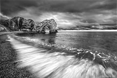 Durdle Rush (Gary Newman) Tags: uk sea england bw beach tide dorset durdledoor nd09 d700 dapagroupmeritaward2