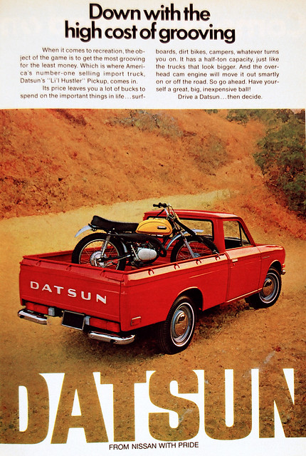 truck vintage ad pickup advertisement yamaha 1972 dt datsun