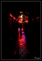Red light, rainy night (misoki) Tags: light netherlands colors rain amsterdam night nikon nacht gray picture nederland prostitution rainy avond redlight redlightdistrict regen hookers amsterdambynight dewallen d40 regenachtig nikond40 misoki
