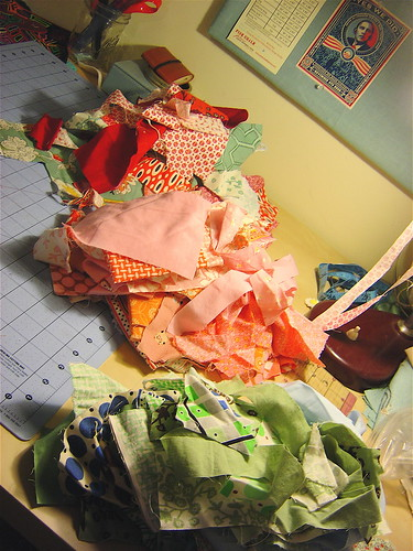 Three piles of scraps