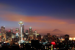 Slightly Foggy Kerry Park Sunrise with Mt. Rainier (David M Hogan) Tags: seattle fog skyline night sunrise dawn washington cityscape spaceneedle kerrypark mtrainier davidhogan