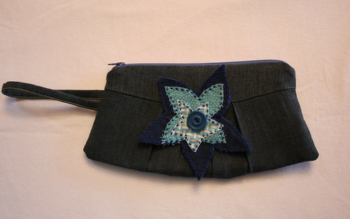 Denim look wristlet