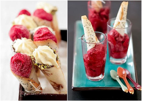Sugar Tuiles With Mixed Berry Sorbet And Vanilla Bean Mousse