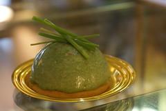 """Pasticceria Salata """"Bavarese agli spinaci con gamberetti e frollino salato"""""""