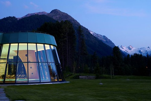 Spa outside Dawn by Grand Hotel Kronenhof.