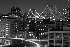 another bridge (gio.o) Tags: bw ny newyork building cars brooklyn night river lights east clear weekly flickrchallengegroup flickrchallengewinner 2009newyork