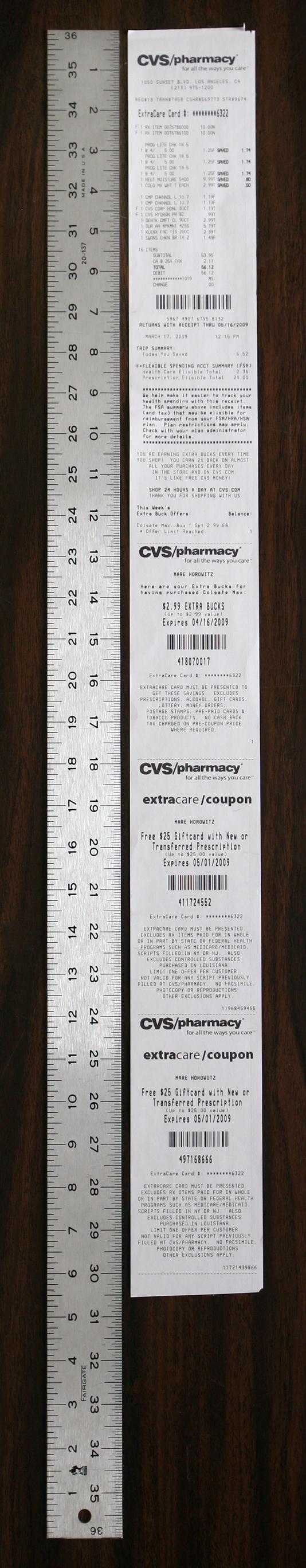 longest receipt ever