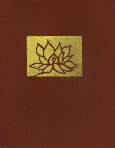 Lotus #1: yellow on brown.