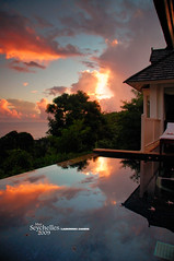 Sunset taken from the villa (Dan & Luiza from TravelPlusStyle.com) Tags: infinity horizon resort seychelles infinitypool banyantreehotel infinityedgepool vanishingedgepool negativeedgepool disappearingedgepool zeroedgepool