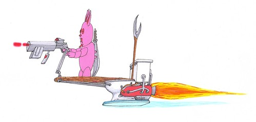 Pink Bunny Assassin on Hoover Toilet with Laser Pistol