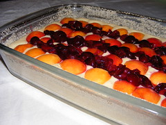 put apricots and cherries ontop of the dough