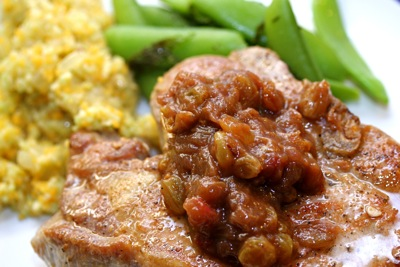 pork chop with rhubarb-raisin compote