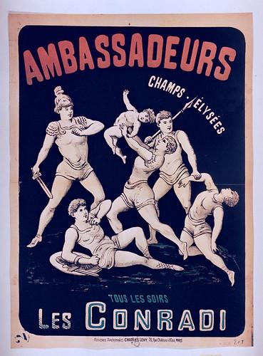 011- Affiche puclicitario de la Troupe Les Conradi en Les Ambasadeurs- siglo XIX