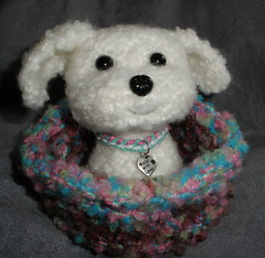 Daisy in the second pup bed/pocket (theknittycat) Tags: dog cute animal puppy knitting knit handknit bichonfrise pup knitted pocket peeps amigurumi interestingness9 i500 ravelry knittycat theknittycat pocketpeep