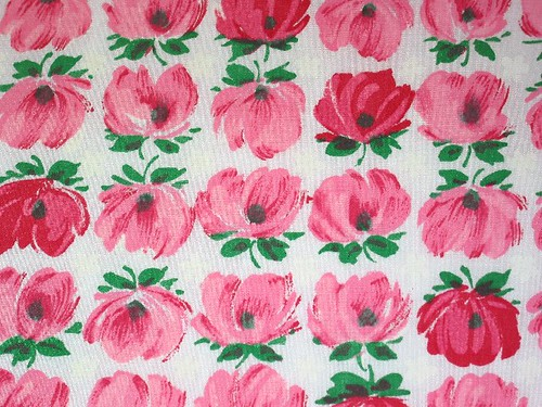 Vintage Pink and Red Floral Fabric